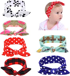 6pcs Christmas Thanksgiving Turban Bow Headbands for Baby Girls Toddlers