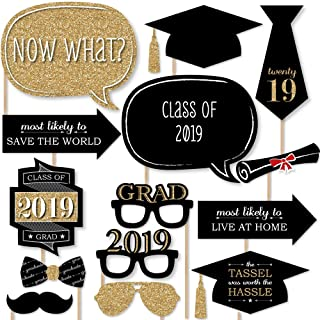 Big Dot of Happiness Graduation Party - Gold - 2019 Grad Photo Booth Props Kit - 20 Count