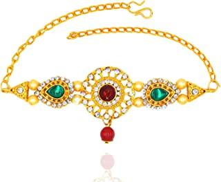 Aashya Mayro Gold Plated, Maroon and Green Crystal Stone and Pearl Studded Bajuband/Armlet/Bracelet for Women Girls
