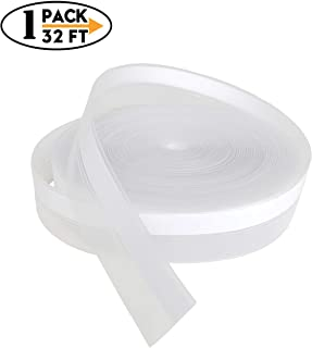 WIRABO 32 Feet Weather Stripping Door Seal Strip for Bottom Gap Draft Stopper Self Adhesive Silicone Tape for Window and Door Soundproof Wind Blocker Transparent White