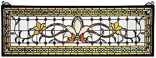 """Meyda Tiffany 119444 Fairytale Transom Stained Glass Window Panel, 33"""" Width x 10"""" Height"""