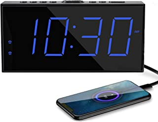 Home Digital Clock LED Large Numbers,Plug in Powered Alarm Clock,USB Phone Chargers,Dual Alarms,Big Snooze,12/24H,DST,Battery Backup Digital Alarm Clocks for Bedroom Nightstand Kids Elderly Adult