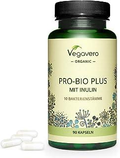 BIO Probióticos Veganos Vegavero® | Con Inulina BIO (Prebiótico) | Testado en Laboratorio | Sin Aditivos | 90 Cápsulas | Bifidobacterium Lactis + Longum + Lactobacillus Plantarum + Rhamnosus
