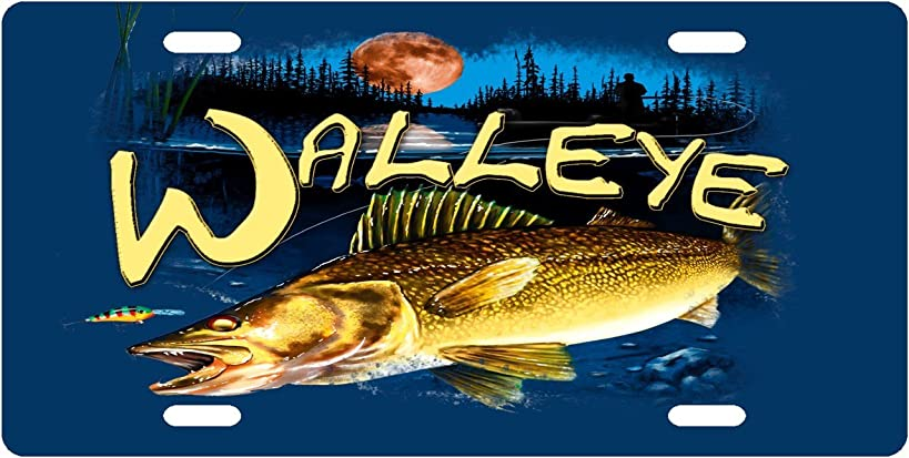Walleye Custom License Plate Novelty Tag from Redeye Laserworks