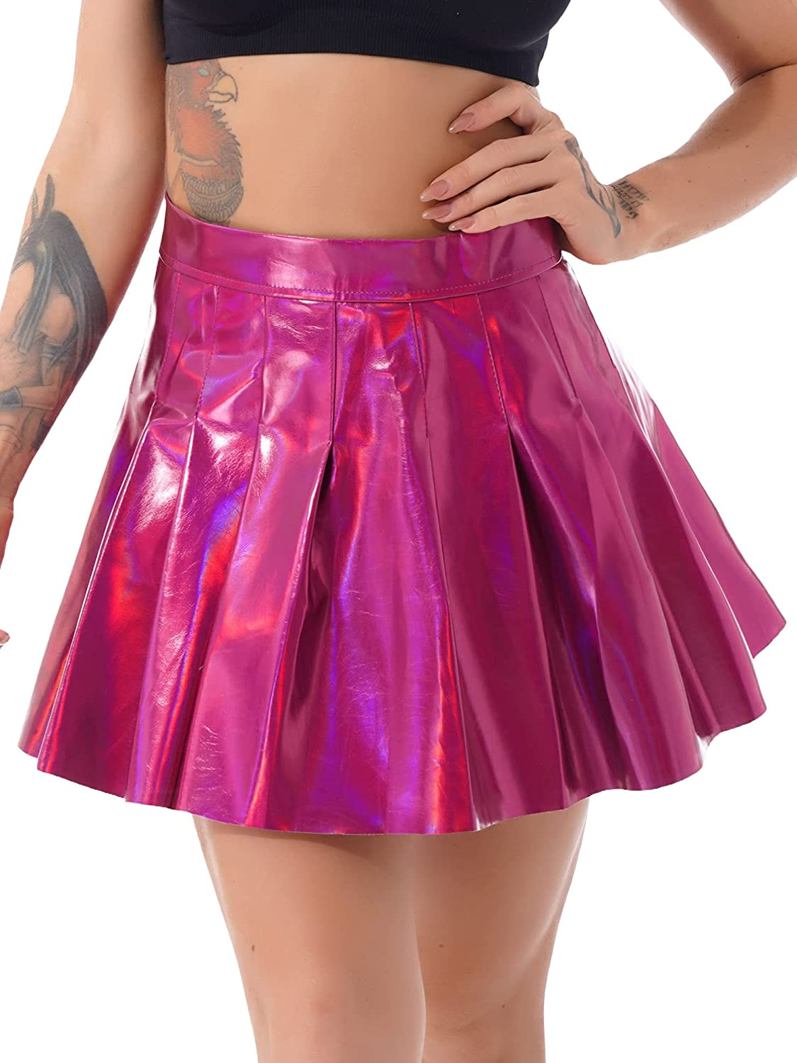 Moily Women's PU Leather Pleated Mini Skirt Versatile Stretchy Flared A-Line Circle Skater Skirt