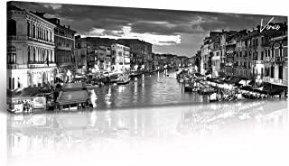 DJSYLIFE Italy Canvas Wall Art Venice City Skyline Pictures Painting Modern Black and White Cityscape Artwork Bedroom Offi...