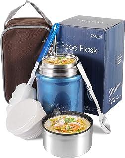 Boîtes Alimentaires Isothermes, Thermos étanche 750ML avec Cuillère Pliante en Acier Inoxydable, Contenant de Nourriture p...