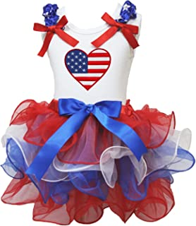 Petitebella USA Heart White Shirt Red White Blue Petal Skirt Set Nb-8y