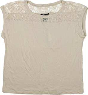 Womens Sleeveless Lace Beaded Top X-Large Almond Willow