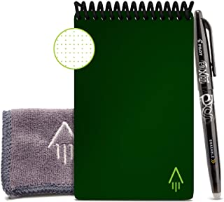 """Rocketbook Smart Reusable Notebook - Dot-Grid Eco-Friendly Notebook with 1 Pilot Frixion Pen & 1 Microfiber Cloth Included - Terrestrial Green Cover, Mini Size (3.5"""" x 5.5"""")"""