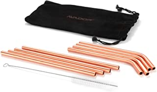 AVADOR Handcrafted Accessories Set of 8 100% Pure Copper Reusable Moscow Mule Straws for Home | Kitchen | Office | Environ...