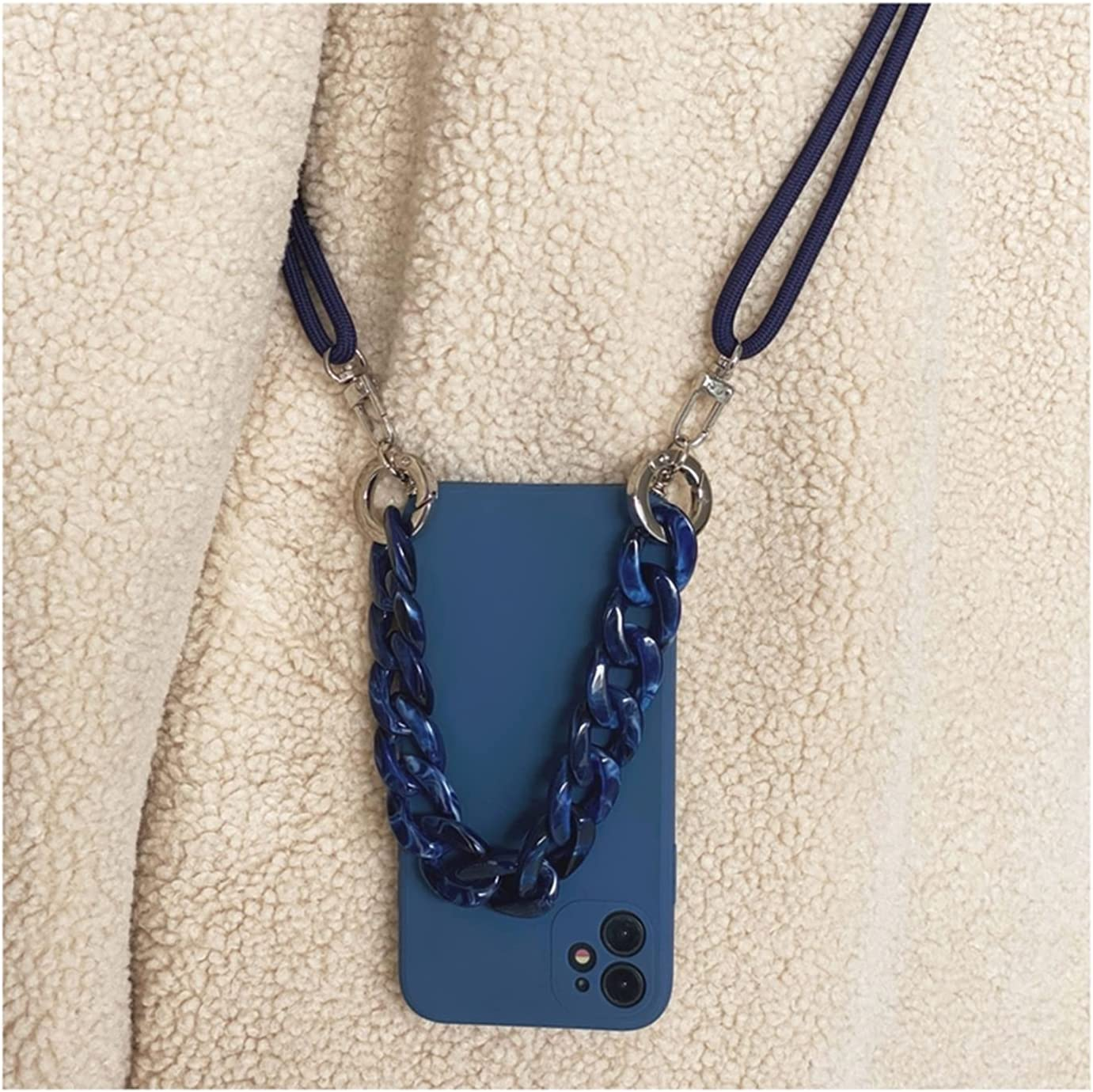 YIZHAOYZ Crossbody Lanyard Necklace Marble Chain Silicone case for iPhone 12 Pro Max 12 Mini 11 Pro Max XR X XS Max 7 8 Plus SE 2020 (Color : F, Size : for iPhone XR)