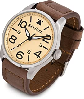 Speidel Men's Stainless Steel Pilot Wrist Watch Featuring Classic Aviator Dial, Japan Quartz Movement and 5 ATM Water Resistance Available with Genuine Leather or Stainless Steel Band