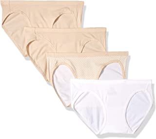 Hanes Ultimate Women's Cotton Stretch Cool Comfort Bikini 4-Pack, Pink/White/Taupe Assorted, 5