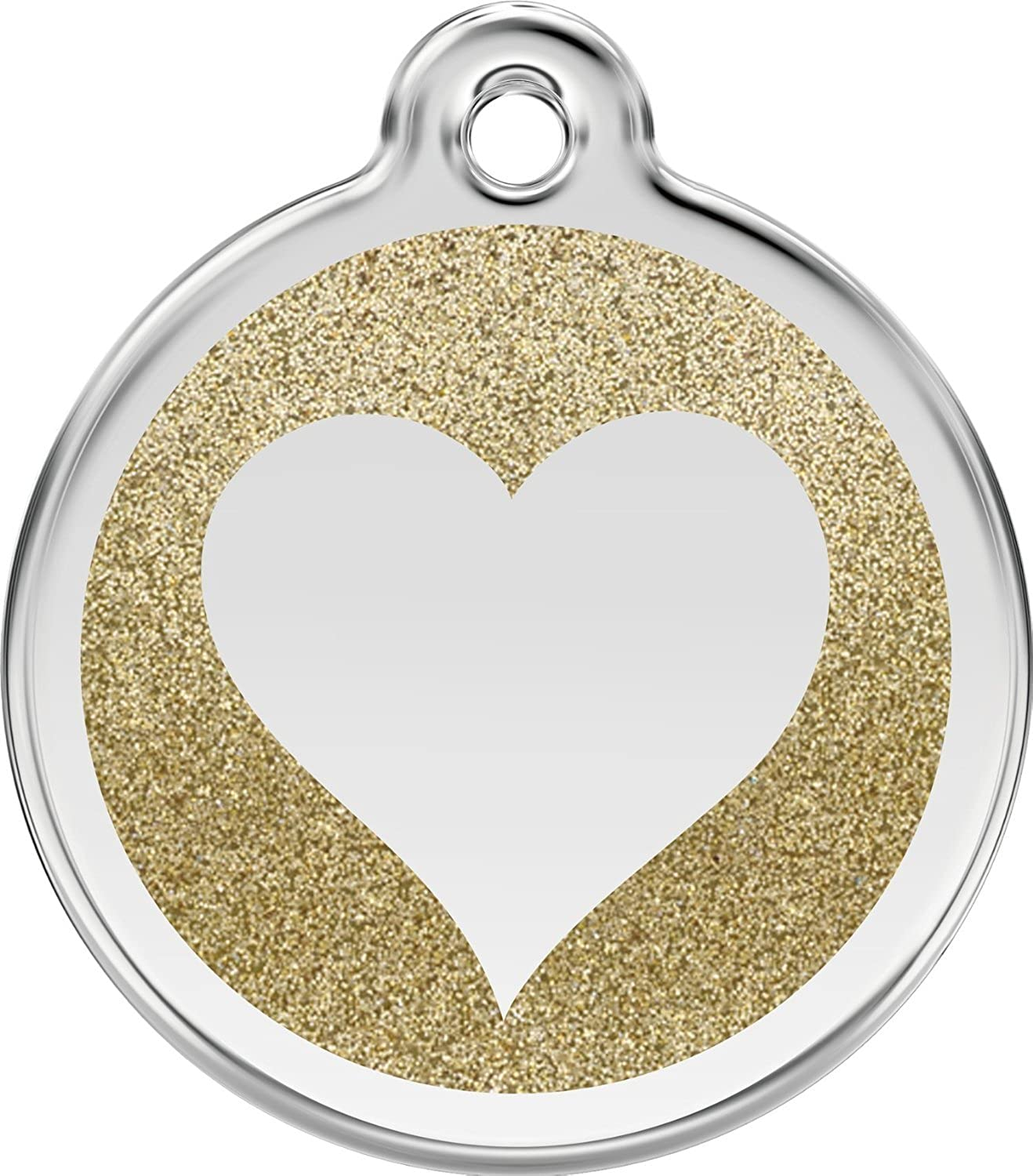 Red Dingo Stainless Steel with Glitter Pet I.D. Tag  Heart (gold, small)