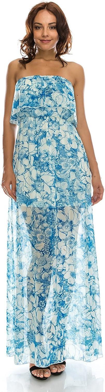 Women's bluee flower summer maxi tube dress