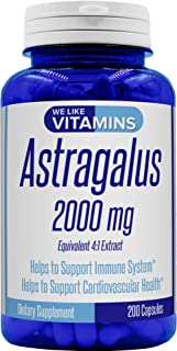Astragalus 2000mg Equivalent 4:1 Extract - 200 Capsules - Astragalus Supplement - Helps Support Strong Immune Function and...
