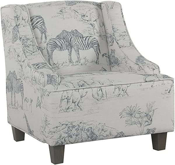 HomePop Youth Upholstered Swoop Arm Accent Chair Jungle Print