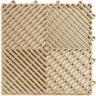 RaceDeck Free-Flow Open Rib Design, Durable Interlocking Modular Garage Flooring Tile (48 Pack), Beige