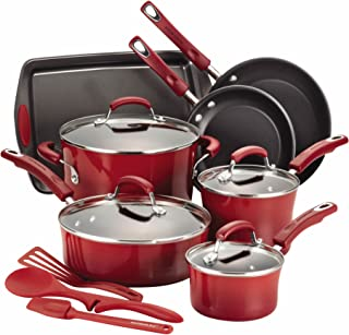 Rachael Ray Classic Brights Hard Enamel Nonstick 14-Piece Cookware Set, Red