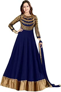 Florely Women's Georgette Long Anarkali Semi Stiched Salwar Suit/Gown With Duppta