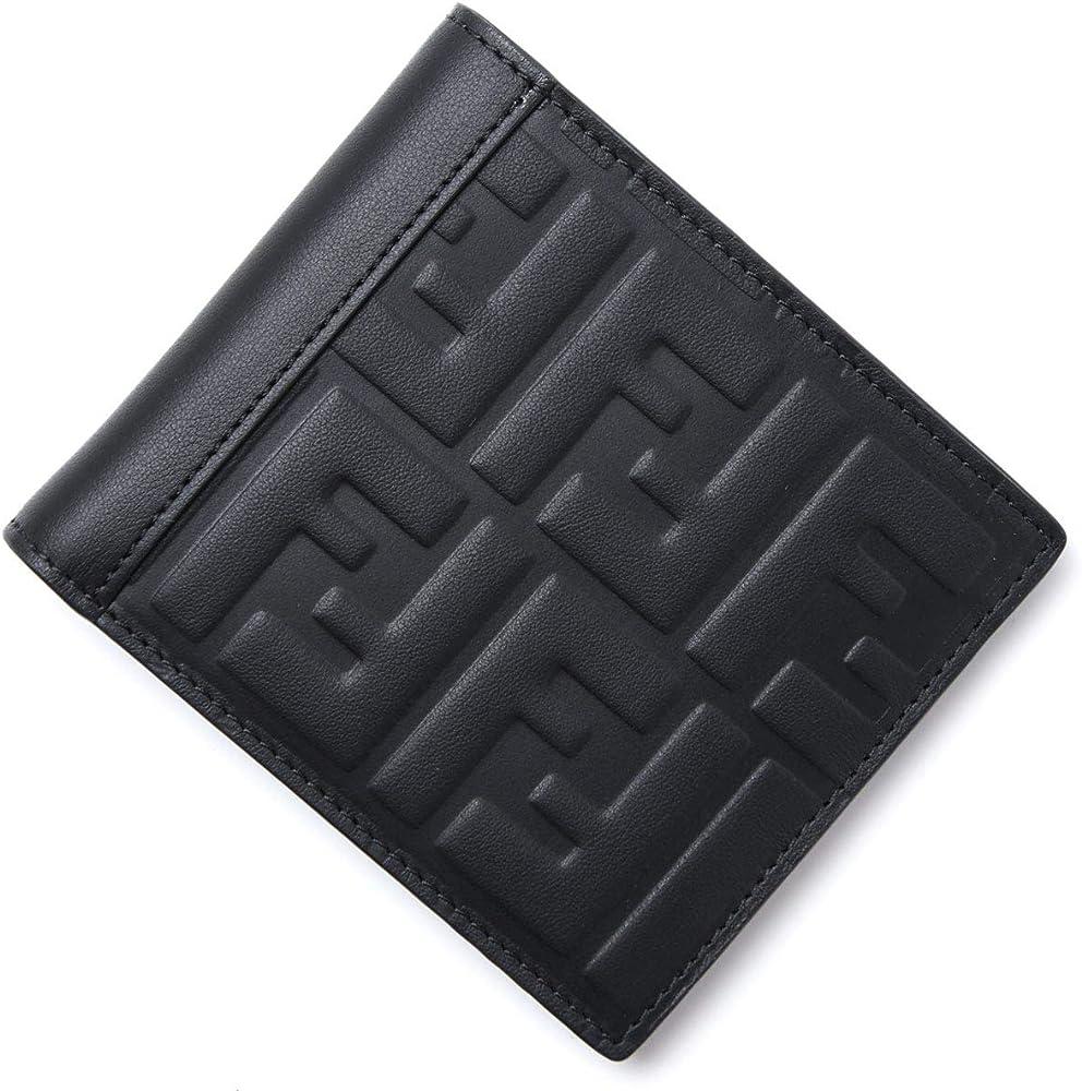 Portafoglio fendi in pelle da uomo, porta carte di credito con l`iconico logo ff in rilievo 7M0169 A42P