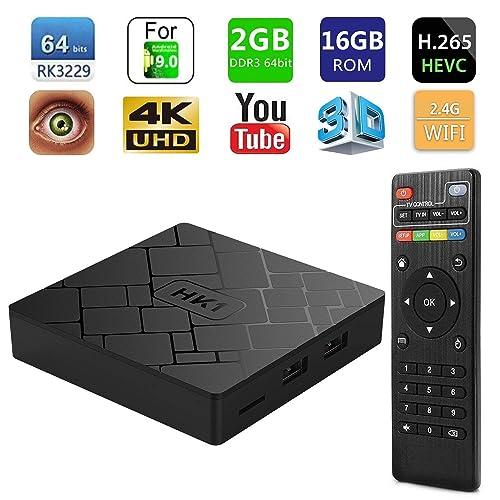 SeeKool HK1 4K 7.1 Android TV Box, Amlogic Quad Core A53 Processor 64 Bits Smart TV Box, 2GB RAM 16GB ROM with Remote Control
