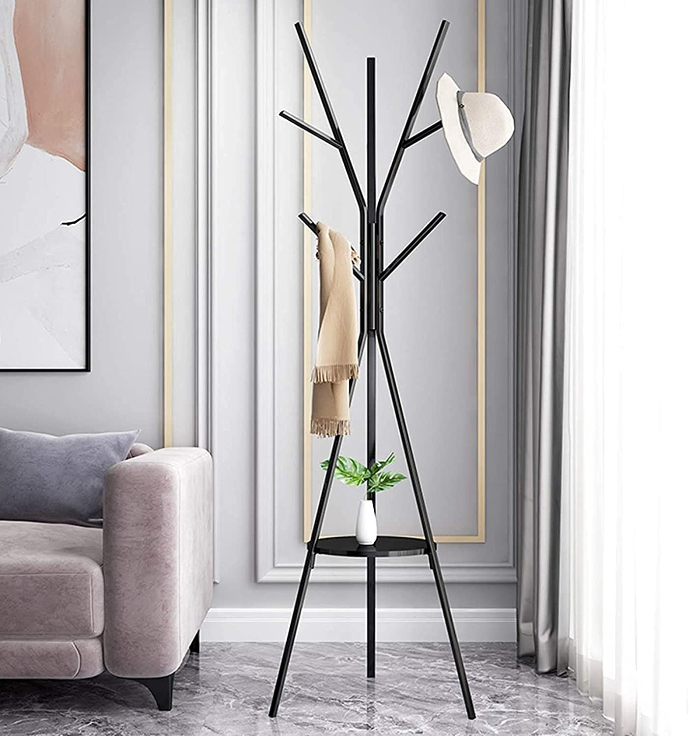 RRLL Home Metal Coat Rack Stand 8 Free shipping with Storage and Easy-to-use Hooks S