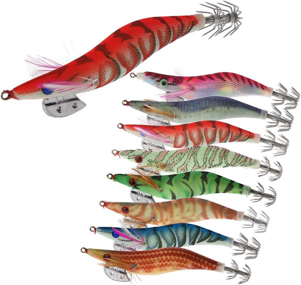 8 Piezas Luminoso Pesca Camarones Señuelo Cebo de Calamar para Sepia Pulpo