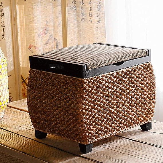 40 x 40 x 30 cm EHC 100/% cotone rotondo fatto a mano doppio sgabello poggiapiedi intrecciato cuscino pouf fumo