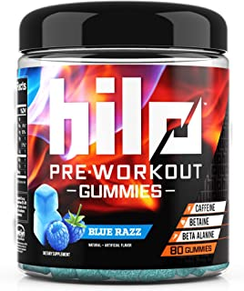 Hilo Pre Workout Gummies - Pre Workout Supplements with Caffeine, Beta Alanine and Betaine - Blue Razz Flavor, 80 Count