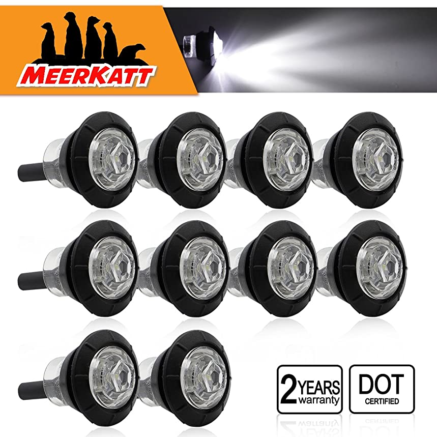 (Pack of 10) Meerkatt Special Generation 3/4 inch Mini Round White LED Small Bullet Clearance Lamps Side Marker Indicators Lights Universal Boat RV Tow Truck Trailer Bus ATV SUV Car 12V DC Waterproof