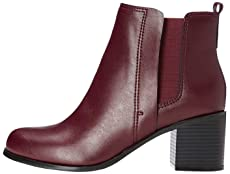 find. Women's Boots in Chelsea Style with Block Heel, Rot (BURGENDY), 4 UK