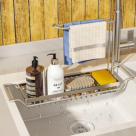 WeChip organisateur de cuisine porte-éponge,304 inox support de panier de vidange de stockage extensible,support d'évier télescopique panier,rangement evier avec Porte-Serviettes,42.5 x 23.5 x 10.5cm.