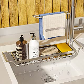 WeChip organisateur de cuisine porte-éponge,304 inox support de panier de vidange de stockage extensible,support d'évier t...