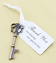 50pcs Wedding Favors Key Bottle Opener with Ribbon Escort Tag Card Thank you for sharing our special day (Key Style #3)