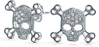 Caribbean Pirate Skull Skeleton Biker Rocker Pave Cubic Zirconia Stud Earrings For Men Women 925 Sterling Silver
