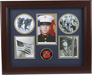 Allied Frame United States Marine Corps Medallion 5 Picture Collage Frame with Stars