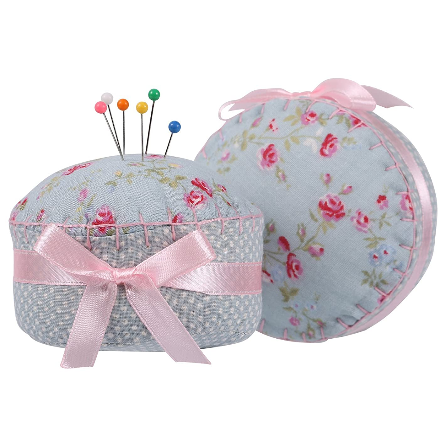 NEOVIVA Cupcake Shaped Pin Cushions for Long Pins, Pack of 2, Floral Blue Ocean