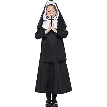 LOLANTA Disfraz de Monja católica para niñas Disfraz de Monja de ...