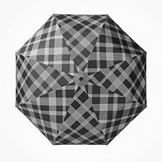 GHMOZ Home Automatic Umbrella Men's Creative Striped Folding Umbrella Windproof Reinforcement Umbrella Black, White (Color : Black)