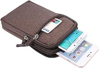 DFV mobile - Belt Multi-functional Vertical Stripes Pouch Bag Case Zipper Closing Carabiner for HTC Desire 19s (2019) - Br...
