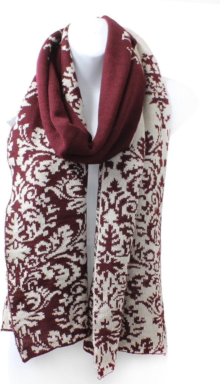 AN Ladies Reversible Renaissance Damask Winter Knit Scarf  Burgundy Wine