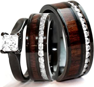 His & Hers Natural Koa Wood CZ 3 pcs Surgical Black Stainless Steel Engagement Wedding Rings Set