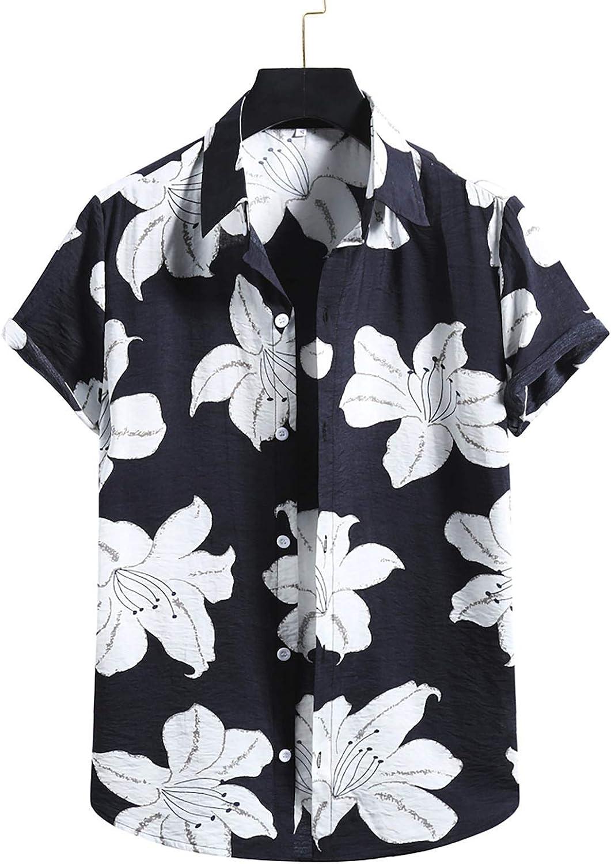 Men's Shirt Hawaiian Button Down Short Sleeve Print Shirt Summer Trendy Loose Fit Blouse