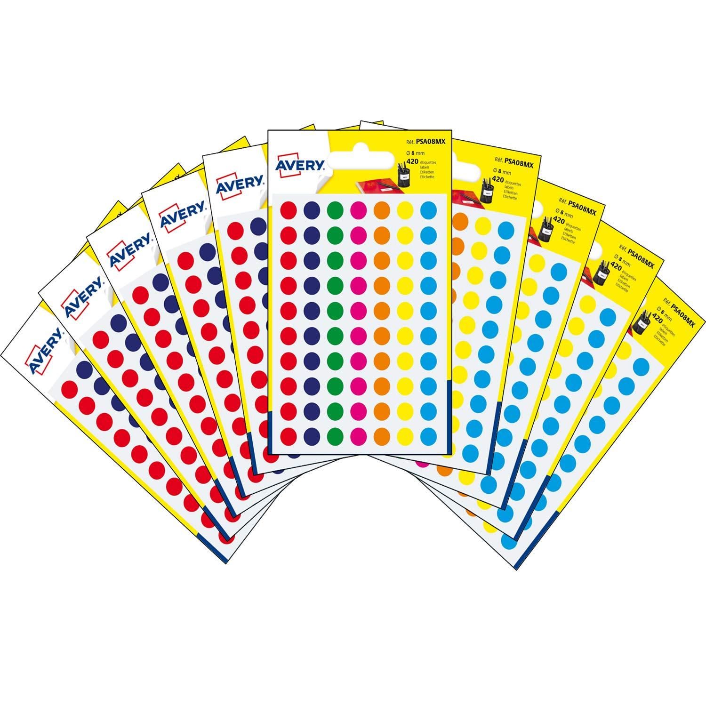 Avery España PSA08MX -10 Bolsas de Gomets de colores surtido,Total 4200 Pegatinas: Amazon.es: Oficina y papelería