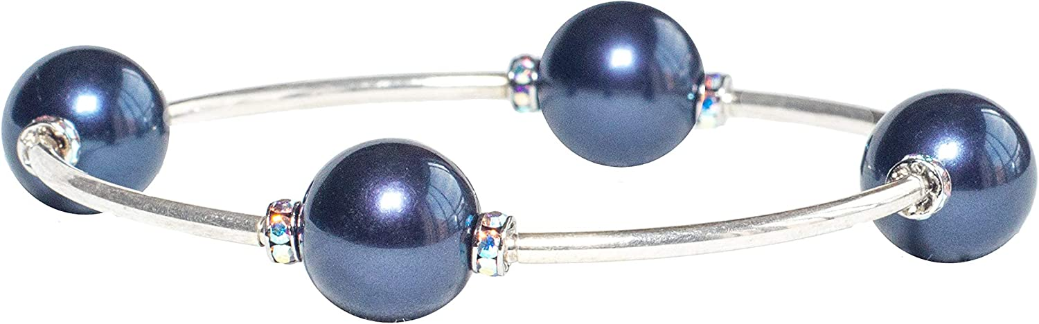 free Blessing Bracelet 12MM wholesale Midnight Swarovski Pearls with