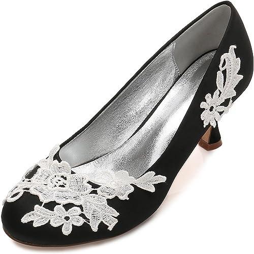 L@YC Femmes Chaussures de Mariage Bureau Fleur Corsage Satin Fermer Les Orteils Taille de la Cour du Parti (sur Mesure)