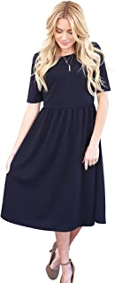 modest navy dress