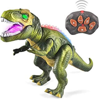 JOYIN LED Light Up Remote Control Dinosaur Walking and Roaring Realistic T-Rex Dinosaur Toys with Glowing Eyes, Walking Mo...